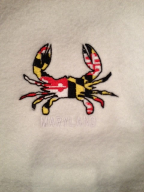 Maryland Crab Flag Sample on White Fabric